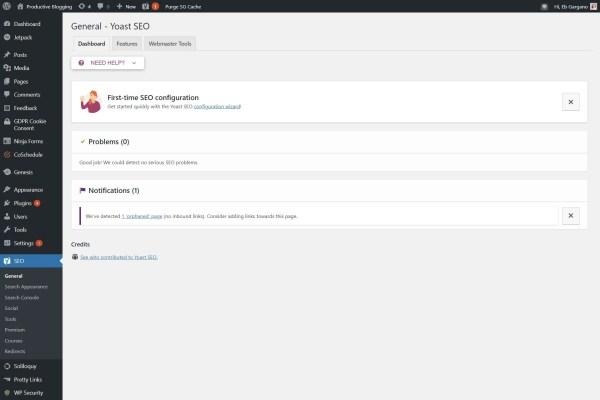 Screengrab of Yoast plugin general tab