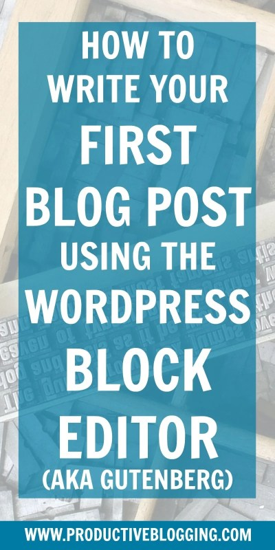 Still putting off switching from the WordPress Classic Editor to Gutenberg? Or are you a brand new blogger ready to write your very first blog post in WordPress? In this tutorial I show you how to write your first blog post using the WordPress block editor (AKA Gutenberg). #gutenberg #wordpress #wordpressblogpost #blogpost #firstblogpost #wordpressblockeditor #newwordpresseditor #wordpressclassiceditor #classiceditorplugin #wordpressgutenberg #startablog #startblogging #productiveblogging