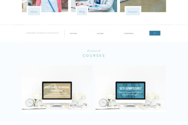 Productive Blogging Homepage with Featured Courses