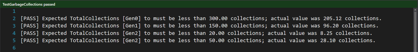 Messaged from passed NBench tests