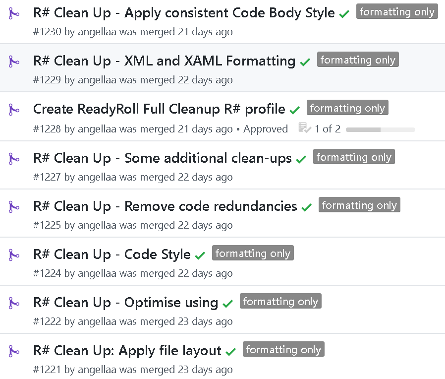 Pull Requests to implement Code Formatting rules