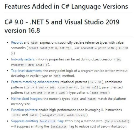 Features Added in C# Language Versions