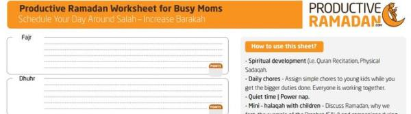 Productive Ramadan Resource: The Busy Mom's Worksheet
