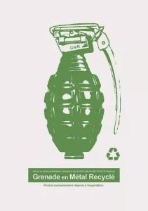 granada en metal reciclado