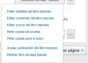 listado de opciones para el libro de tapa blanda en kindle direct publishing