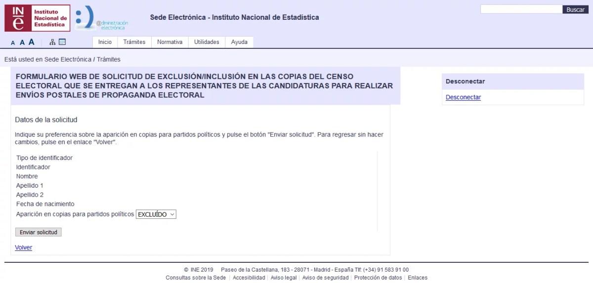 Formulario para exclusión de envíos postales de propaganda electoral