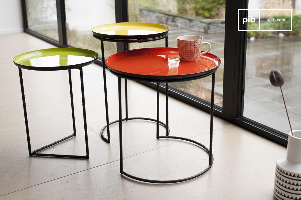 Table Gigogne Tricolore Kirk Set De Trois Tables Pib