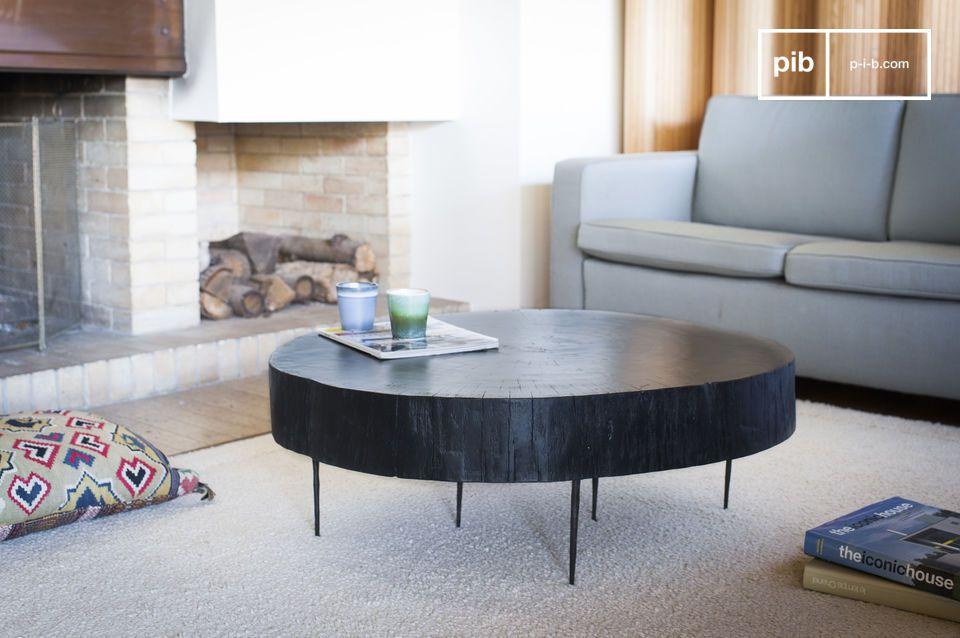 table basse tronc d arbre noire natural luka