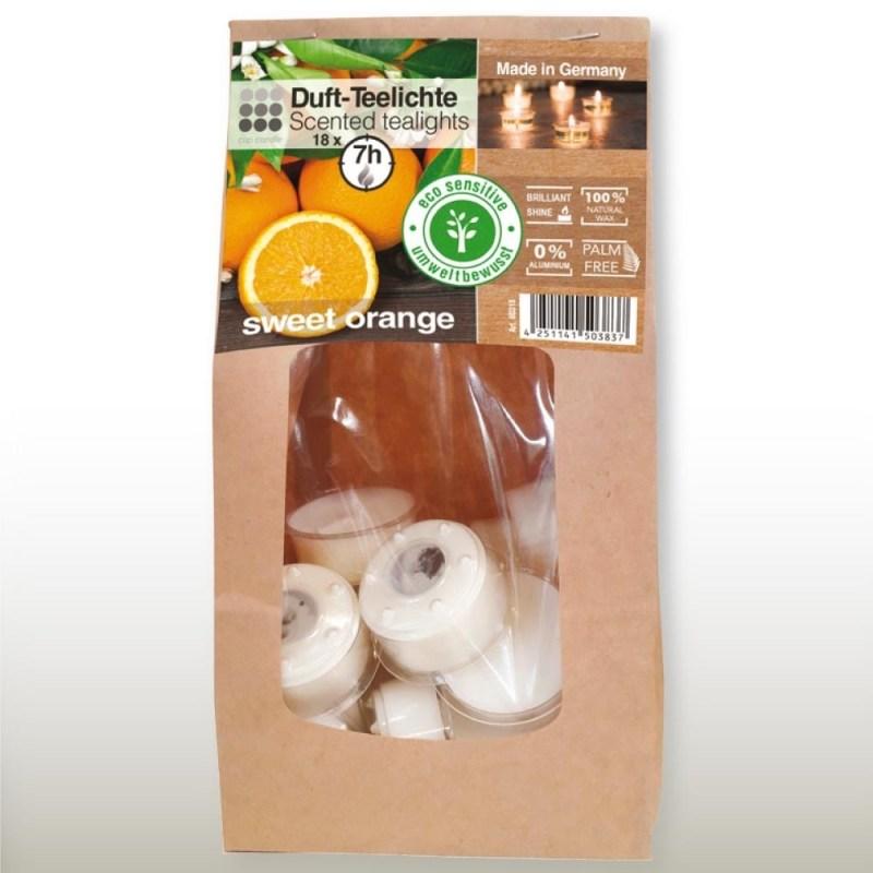 Świeczki tea-light o zapachu słodkiej pomarańczy, podgrzewacze zapachowe, świeczniki dekoracyjne, świece ozdobne