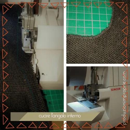 cucire angoli interno con tagliacuci