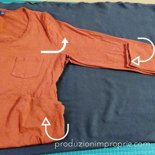 posizionamento maglia maniche pipistrello