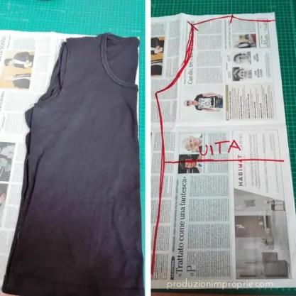 disegnare cartamodello busto per tessuti in maglia ricalcando una maglietta