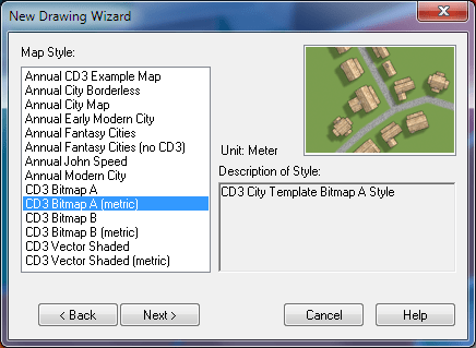 Second step of creating new city map: selecting the template