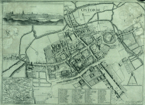 Historic map of Oxford in 1643 showing buildings near city gates