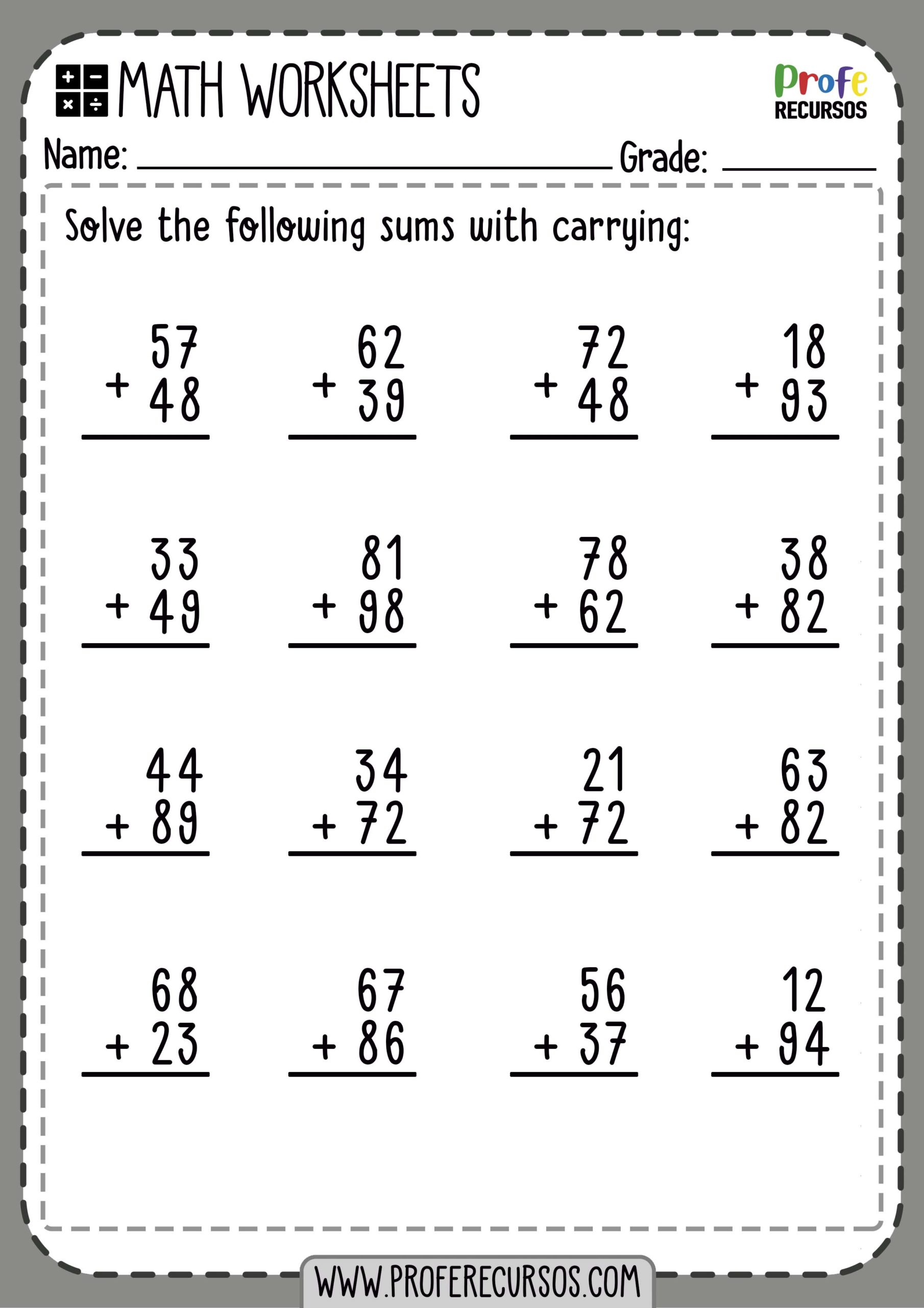 Addition With Carrying Worksheets