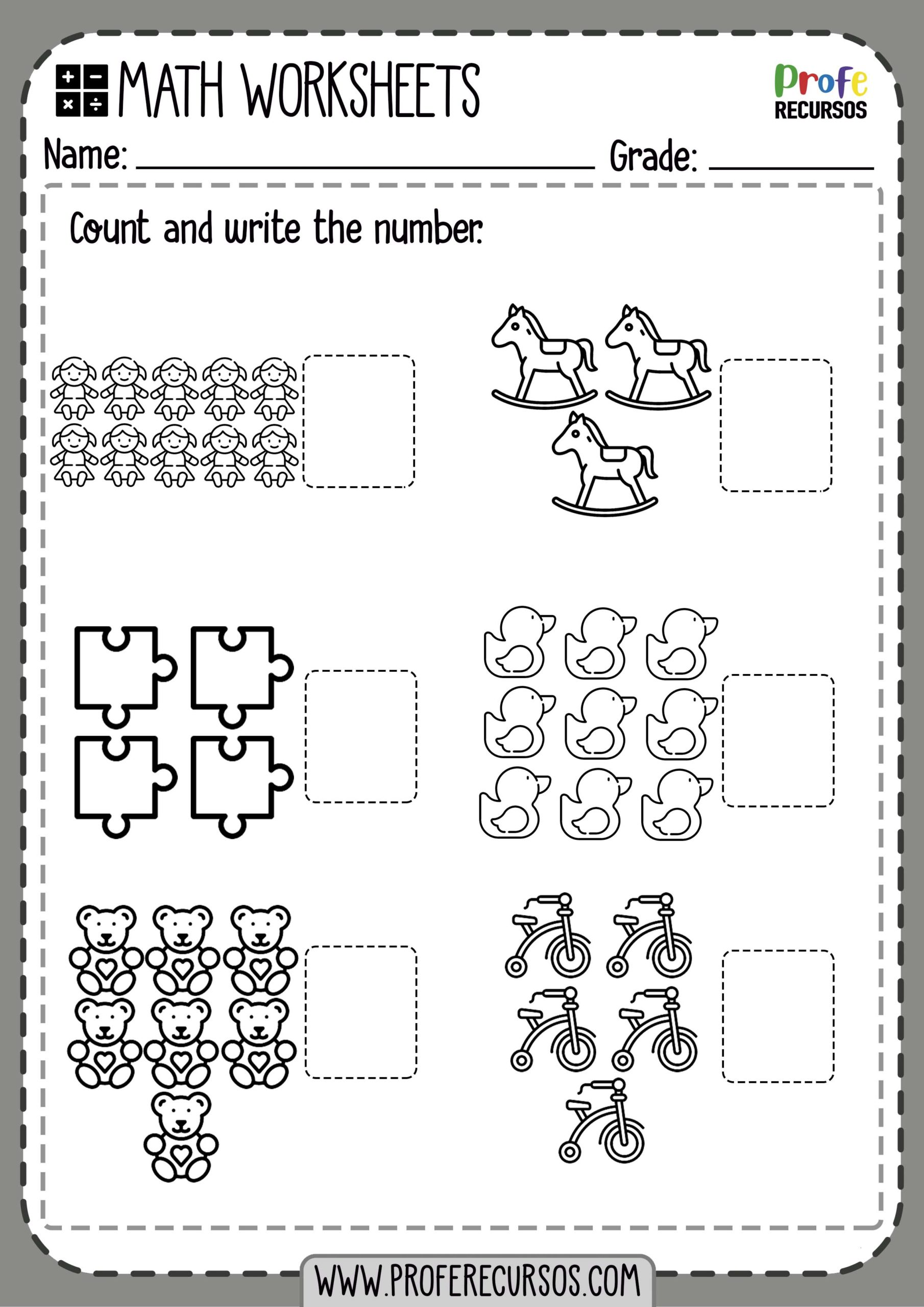 Learning Numbers Worksheets