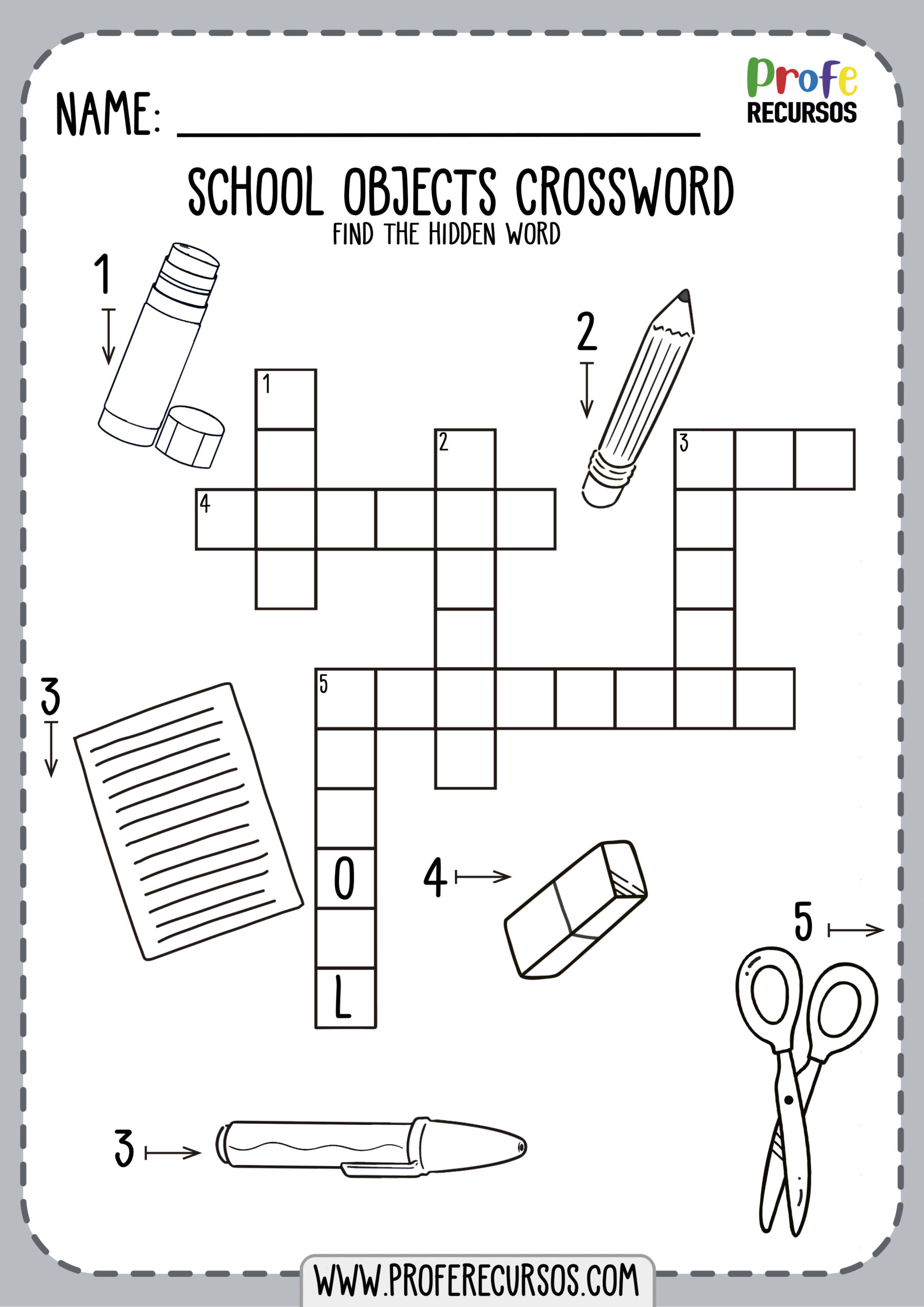 School Vocabulary Worksheet