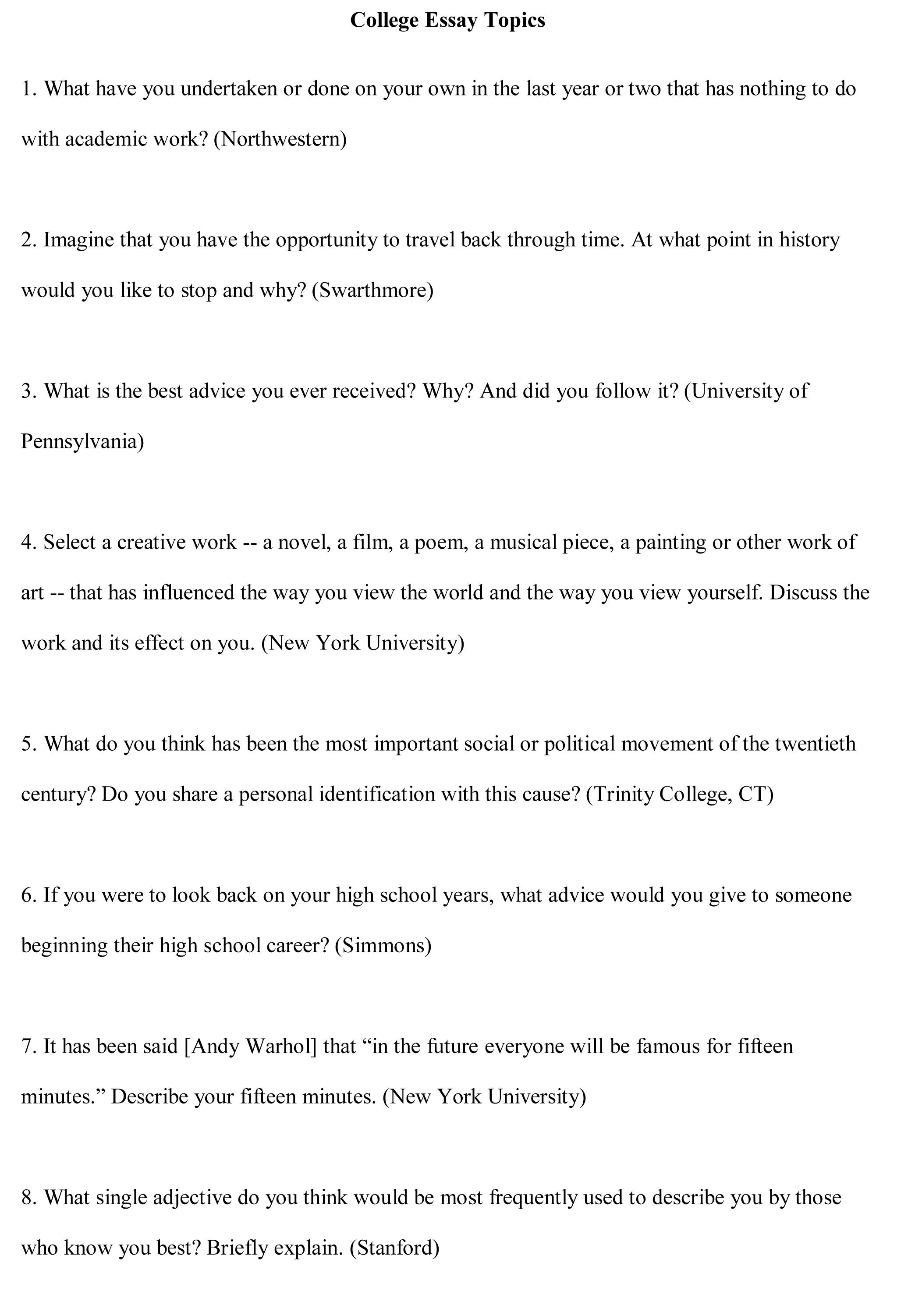 Sample Essay Topics For High School Students