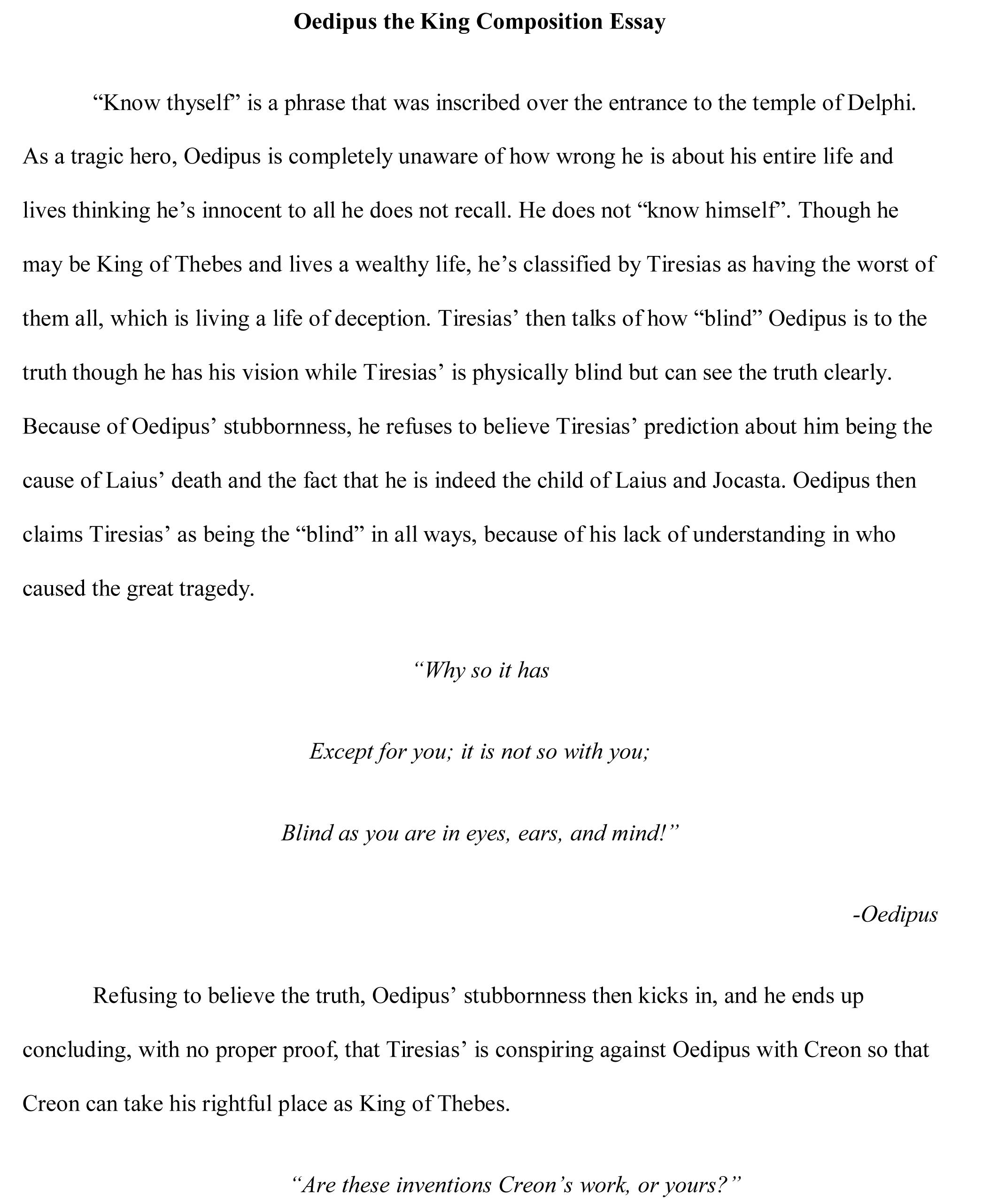 Oedipus Essay Writing Help