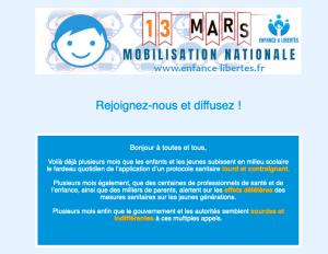 13 mars 2021 – Mobilisation Nationale – Enfance et Libertés
