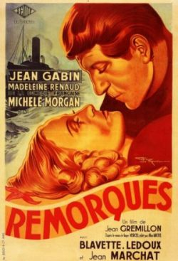 """Affiche de """"Remorques"""", de Jean Grémillon, avec Jean Gabin, Michèle Morgan et Madeleine Renaud"""