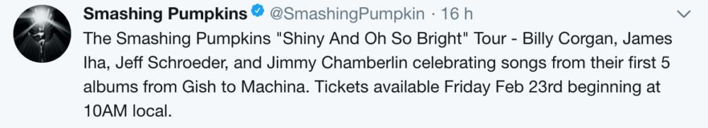 The Smashing Pumpkins en tournée : message Twitter