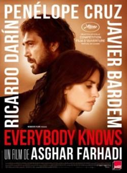 Asghar Farhadi, Everybody knows (affiche), avec Javier Bardem, Penelope Cruz et RiaCardo Darin