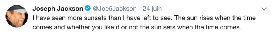 Joe Jackson Tweet