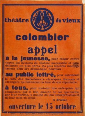 Appel de Jacques Copeau - Vieux-Colombier