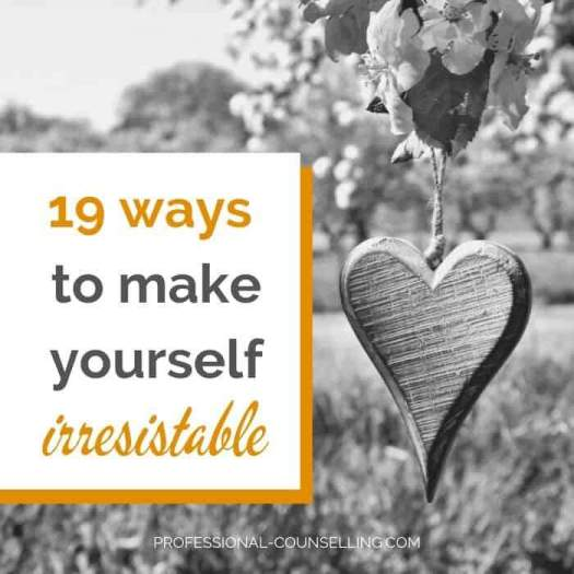 Photo: tree with blossoms and wooden heart. Text: 19 ways to make yourself irresistible