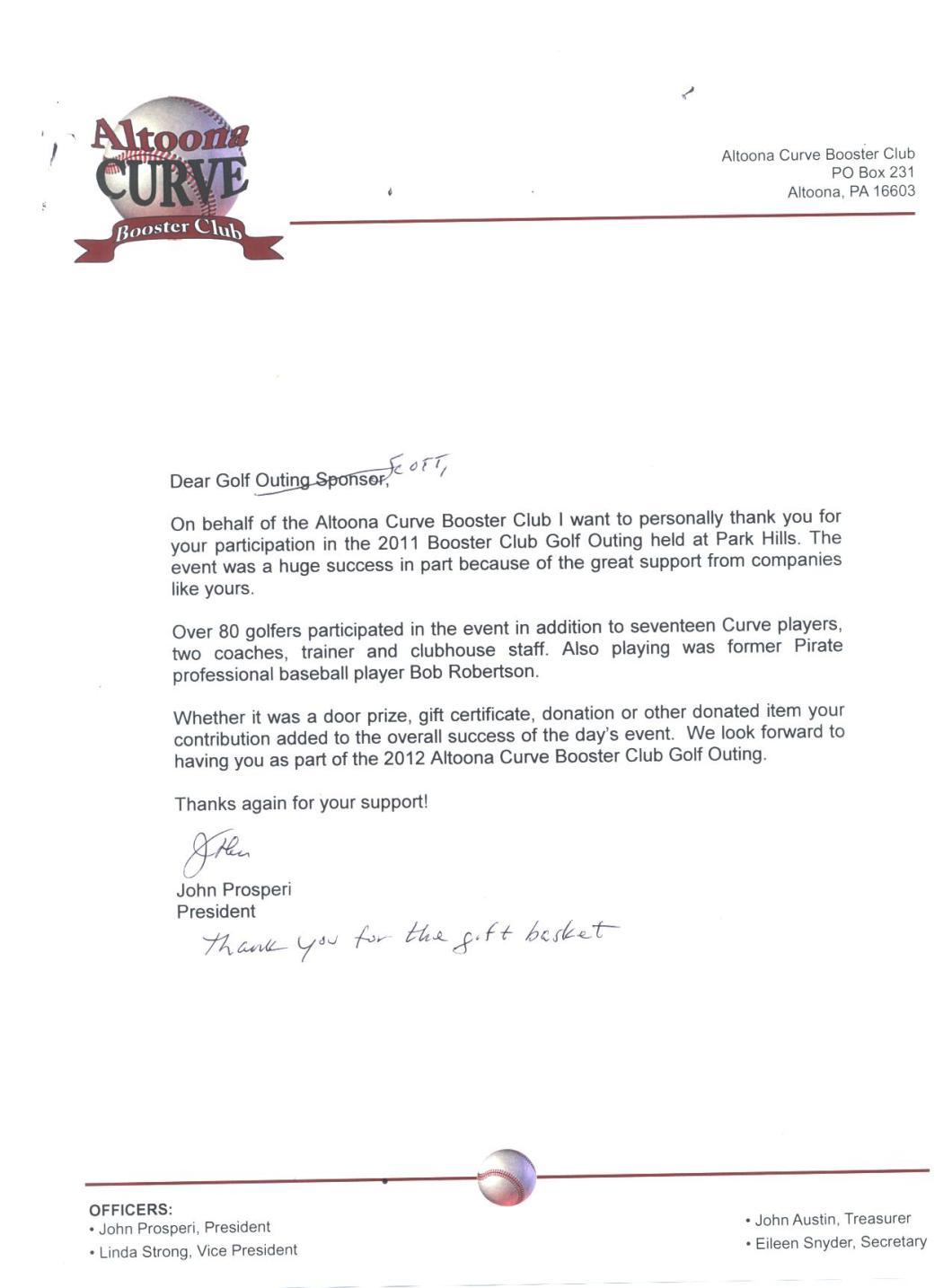 Sample Thank You Letter For Team Sponsorship Drive
