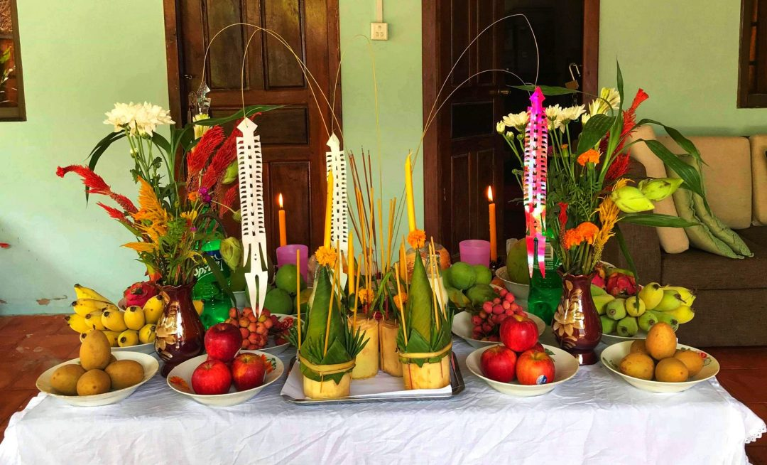 Food offerings at Khmer New Year