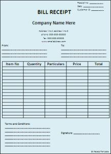 bill receipt template