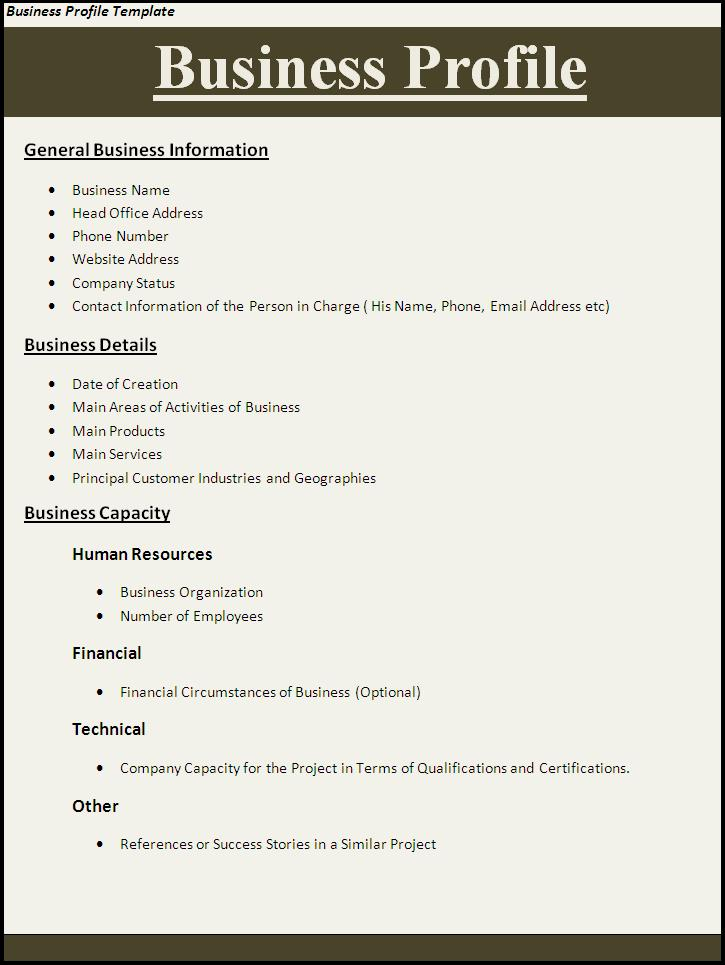 Business Profile Template – Template for Business Profile