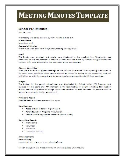 Meeting minutes template professional word templates for Outlook meeting minutes template