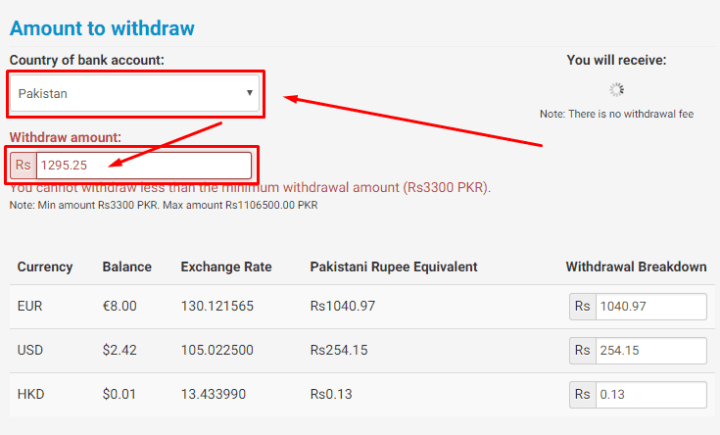 amount to withdraw