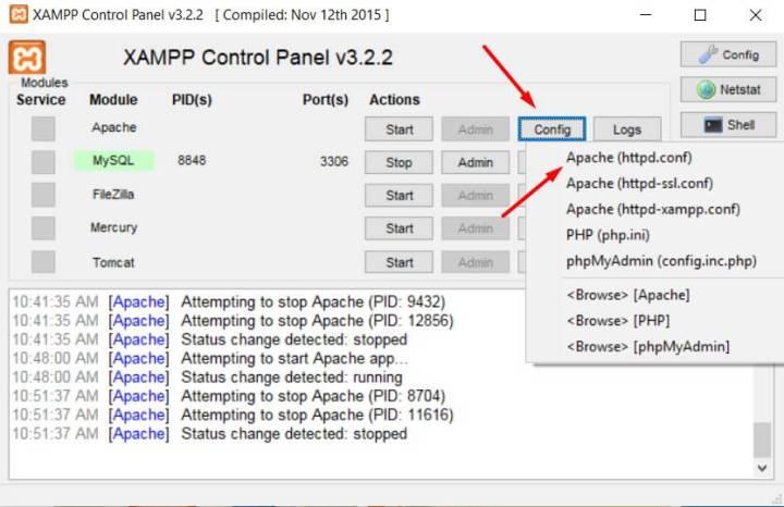 Xampp config