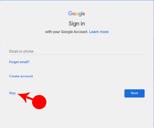 Skip Google Account