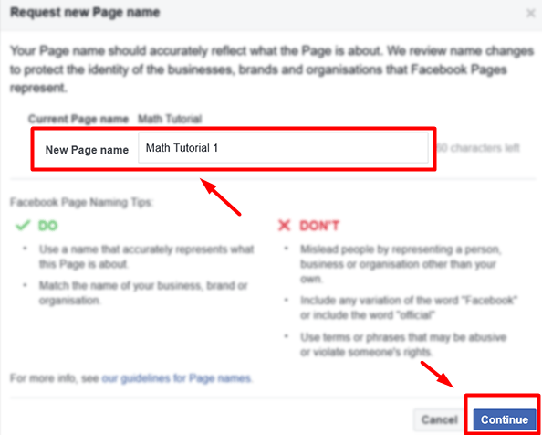 Request new Page name