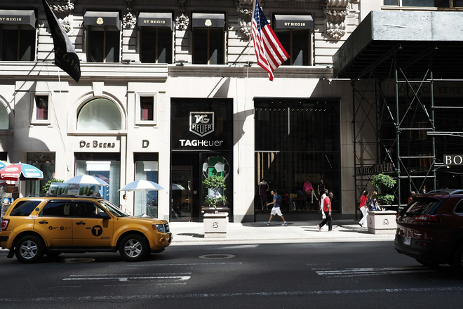 TAG Heuer's flagship boutique, located between 54th and 55th streets on 5th Avenue. (701 5th Ave)