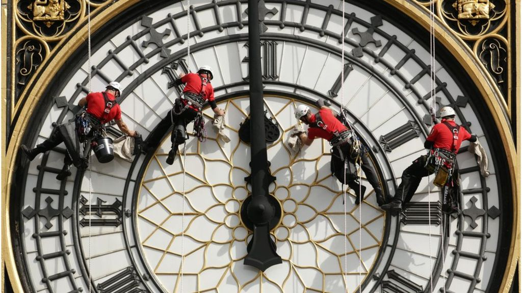Cleaning London Big Ben Clock