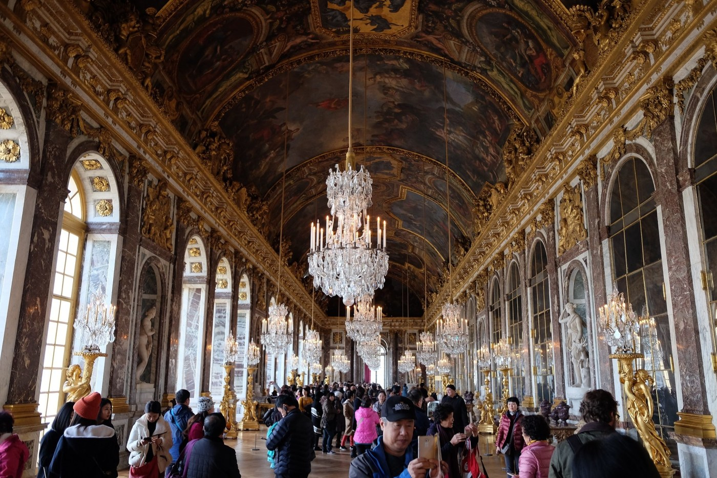 Hall of Mirrors in The Grand Gallery at Versailles