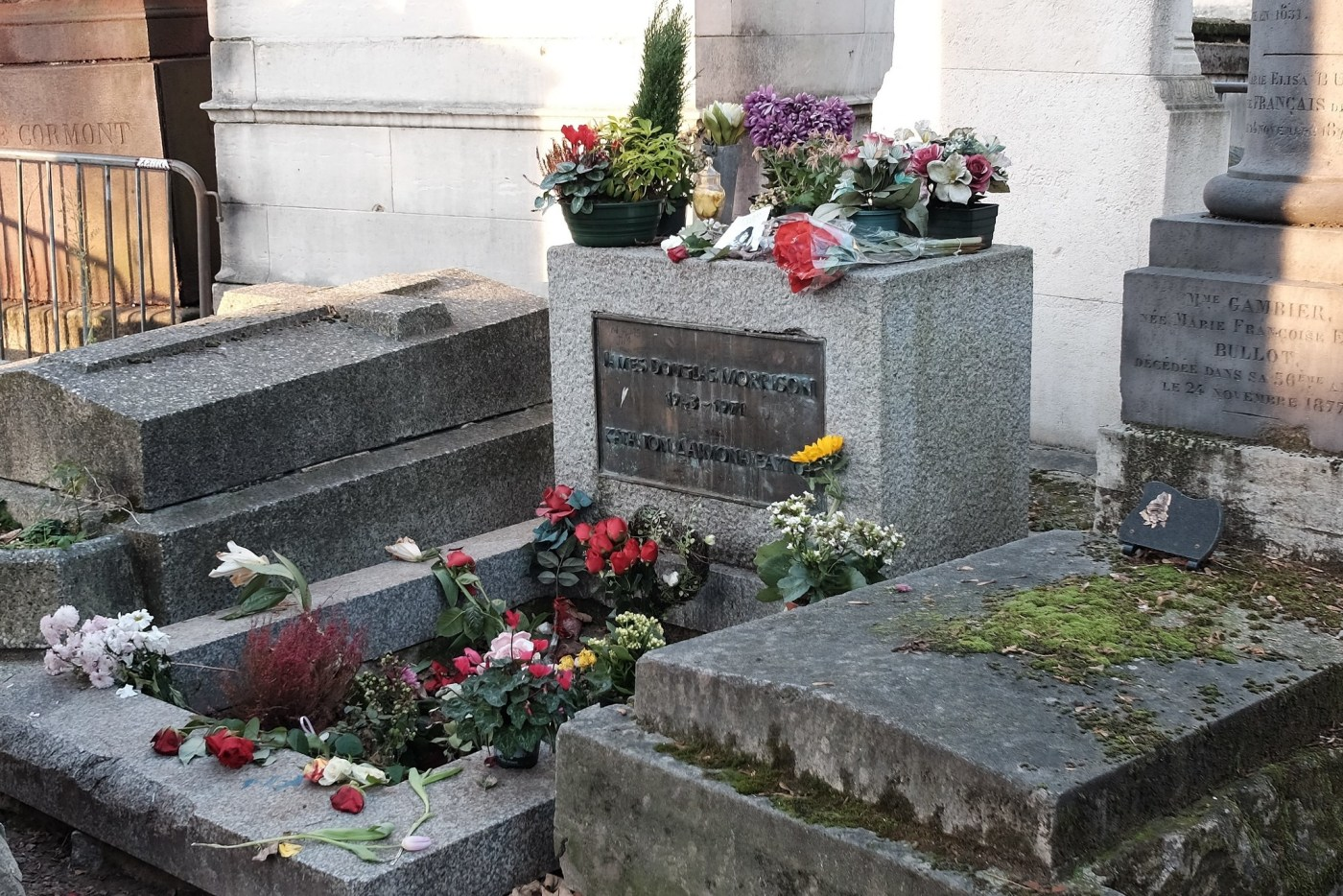 Jim Morrison's grave at the Père Lachaise Cemetery in Paris which is also where Breguet is buried