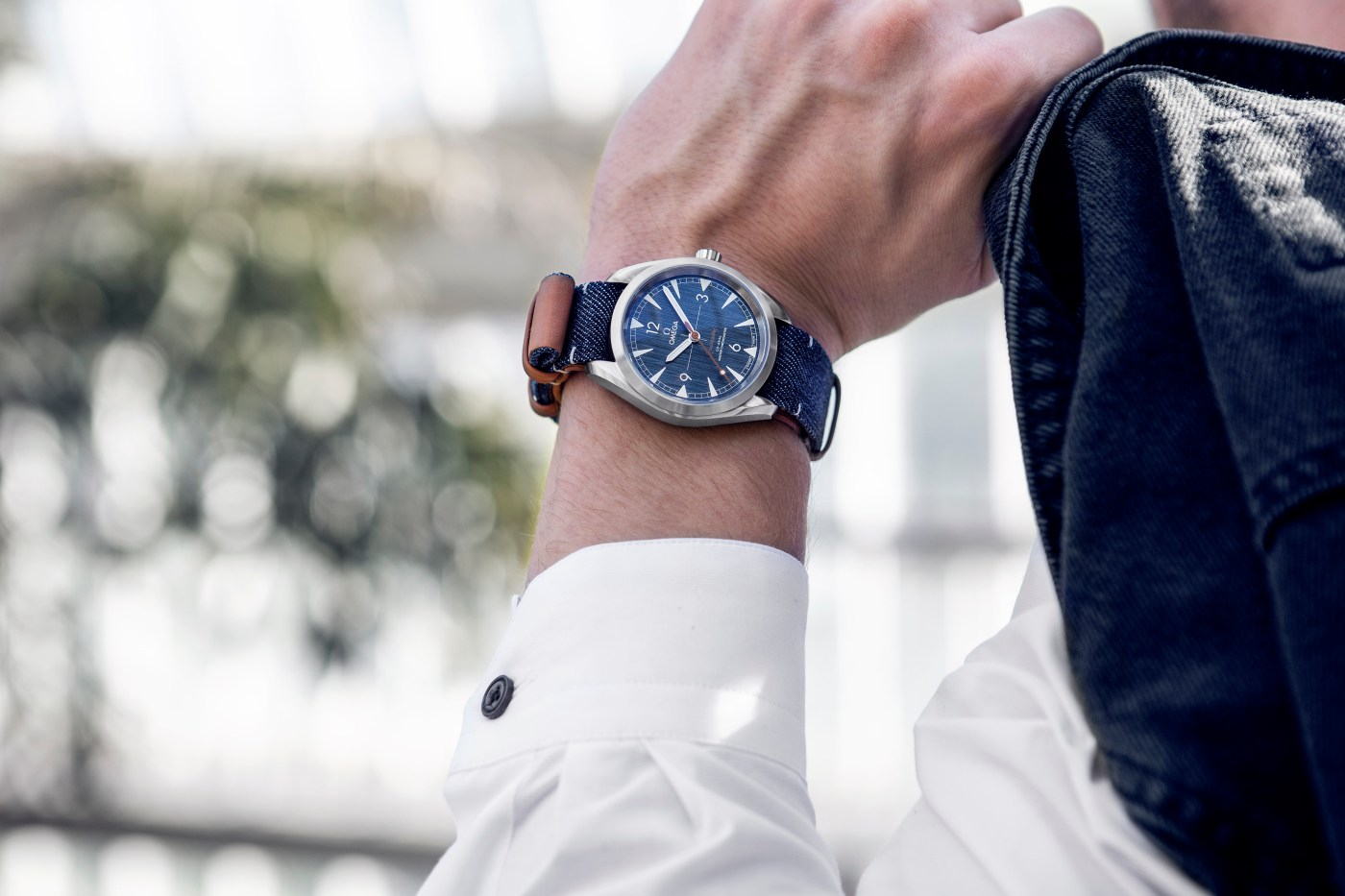 Omega Railmaster Co-Axial Master Chronometer Denim wristshot