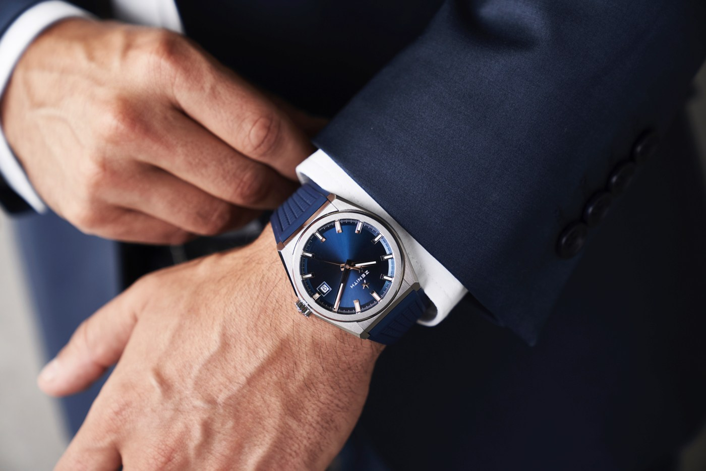 Zenith Defy Classic Titanium Blue Dial wristshot