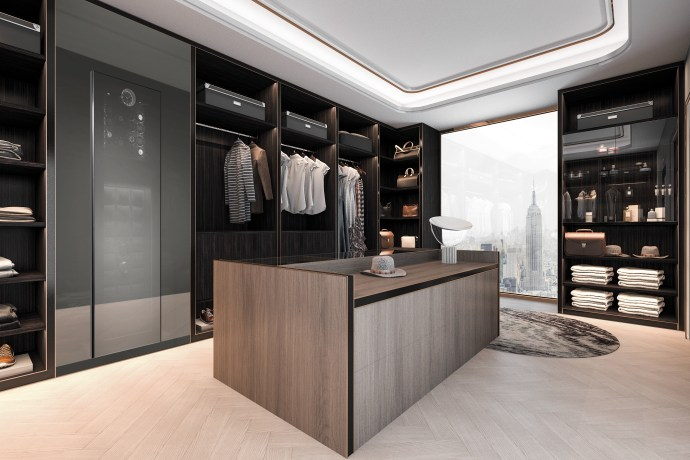 Buben & Zorweg 3d rendering minimal loft dark wood walk in closet with wardrobe