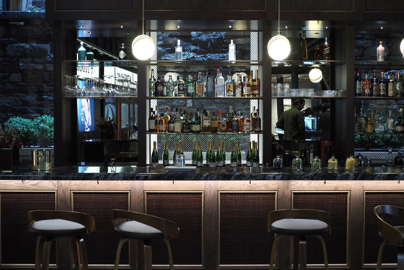 The amazing fully stocked bar that is run by Death & Co
