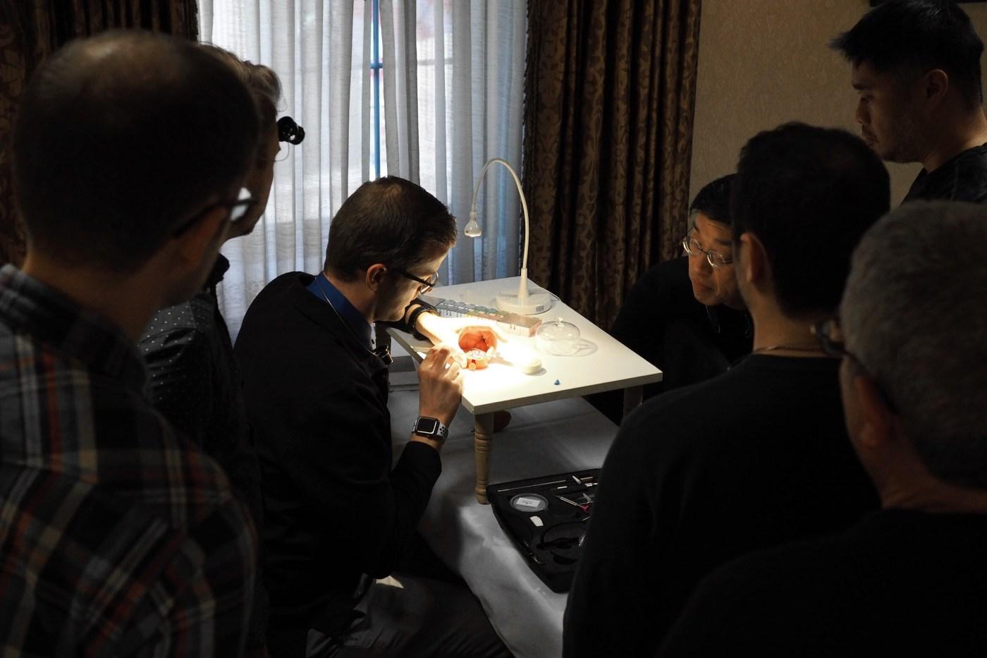 Aaron Recksiek demonstrating process to students