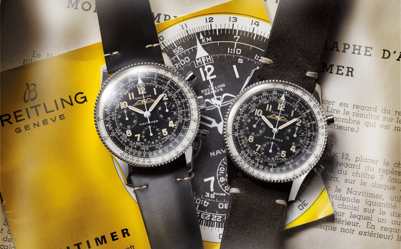 Navitimer Ref. 806 1959 Re-Edition (left) and vintage model (right)