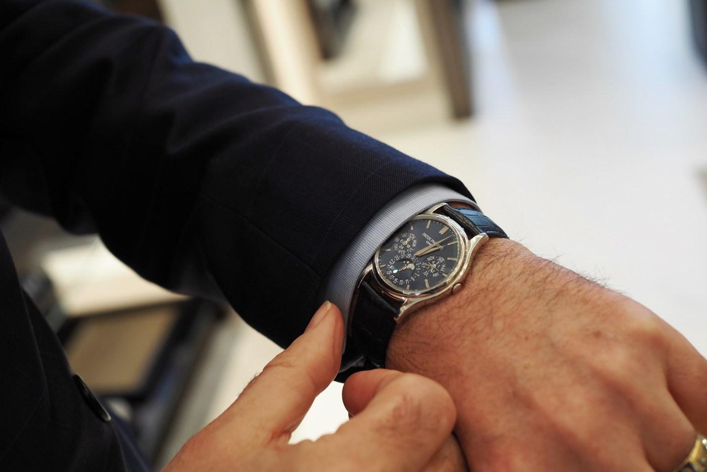 Wristshot of Brian Duffy's personal Patek Philippe 5140 Platinum Perpetual Calendar